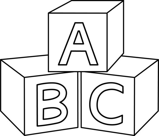 Blocks black and white. Abc block clipart