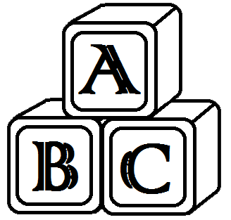 Abc block clipart. Blocks kid black and