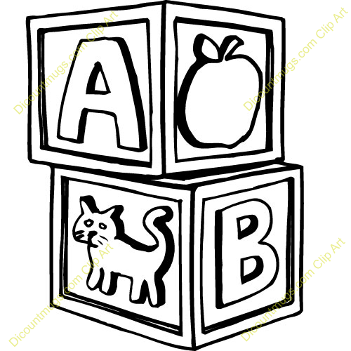 Black and white kid. Abc blocks free clipart