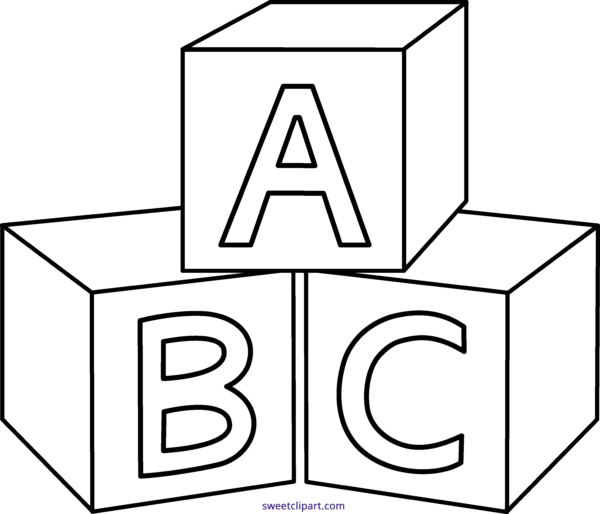 Alphabet blocks clipart outline graphic stock abc Archives - Sweet Clip Art graphic stock