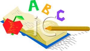 Art Image: ABC Written Over a Textbook graphic stock
