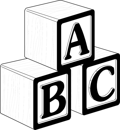 Images clipart black and. Abc building blocks clip art