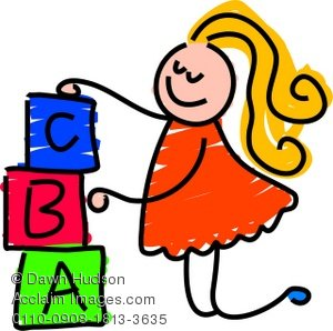 Abc building blocks clipart. Illustration of a little