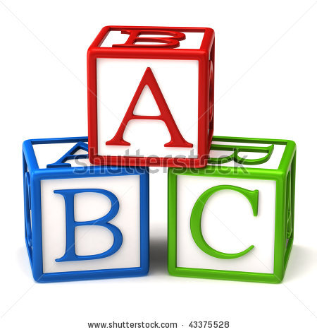 Kid black and white. Abc building blocks clipart