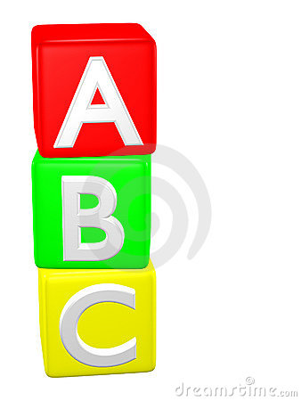 Abc building blocks clipart. Baby toy alphabet stock