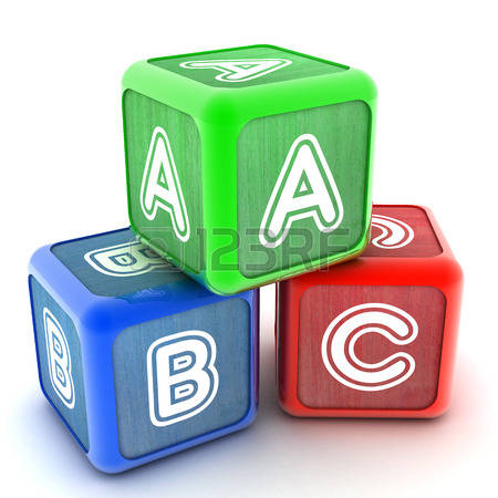Abc building blocks clipart.  stock illustrations cliparts