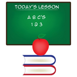 School Clipart Image - Today' lesson. Chalkboard with ABC's and ... picture
