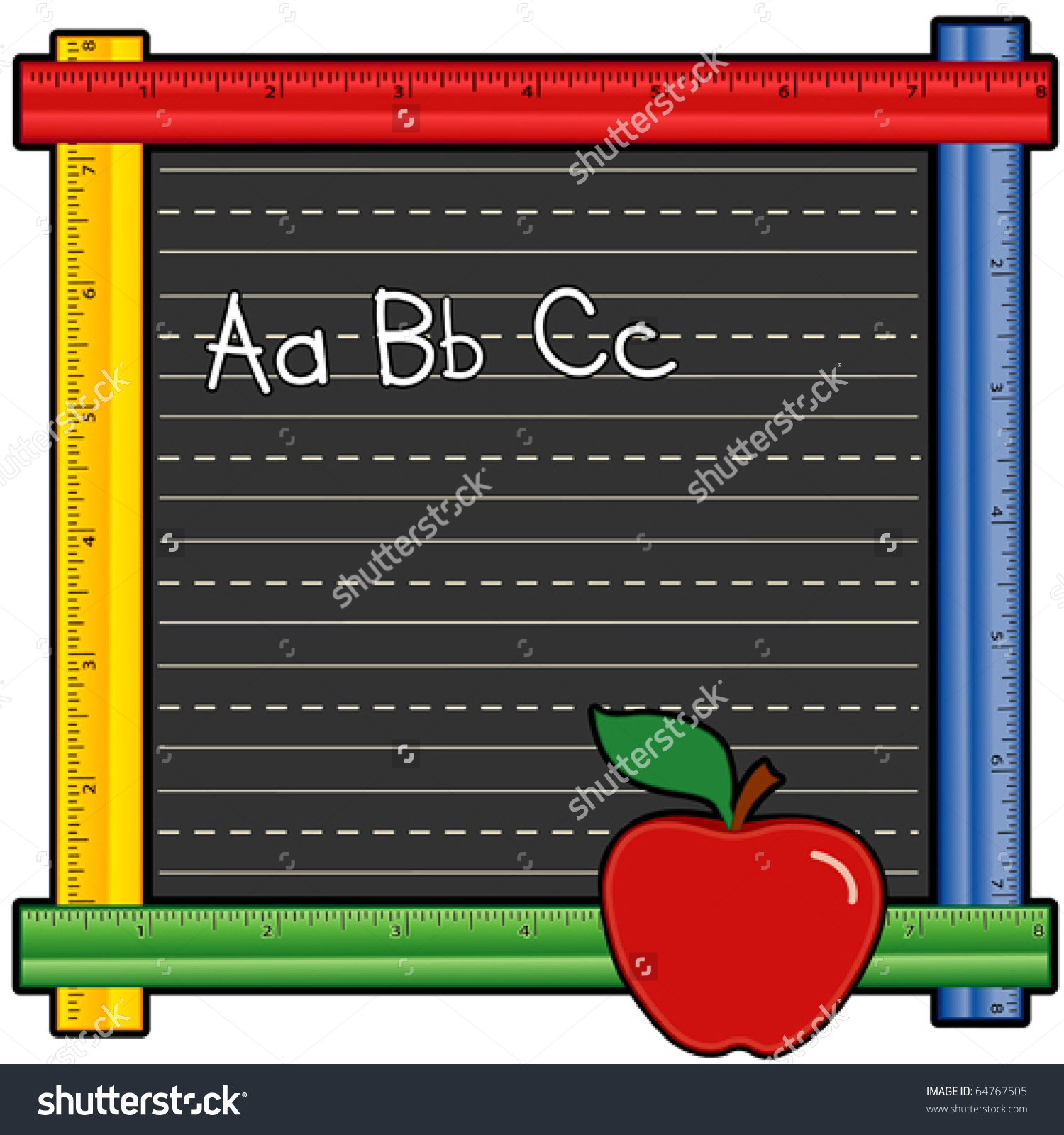 Abc chalkboard clipart stock Ruler Frame Chalkboard Abc Chalk Writing Stock Vector 64767505 ... stock