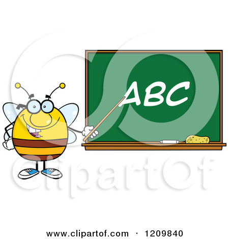 Cartoon of a Happy Bee Teacher Pointing to ABC on a Chalkboard ... vector library library
