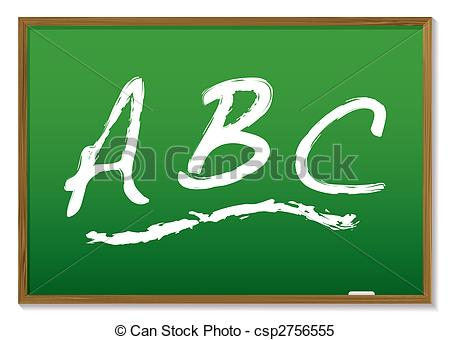 Clipart Vector of chalkboard abc - learn your abc drawn on a green ... image download