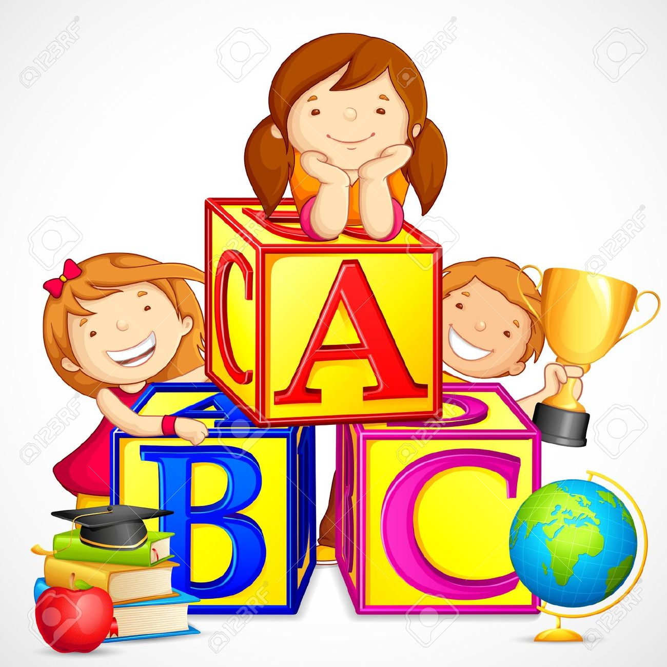 Abc clipart for kids image black and white stock Kids learning abc clipart - ClipartFox image black and white stock