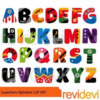 Superhero alphabet clip art. Abc clipart letters