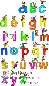 Abc clipart letters clipart black and white stock Fun, Cartoon Alphabet Letter ABC's With Kids On Them - Royalty ... clipart black and white stock