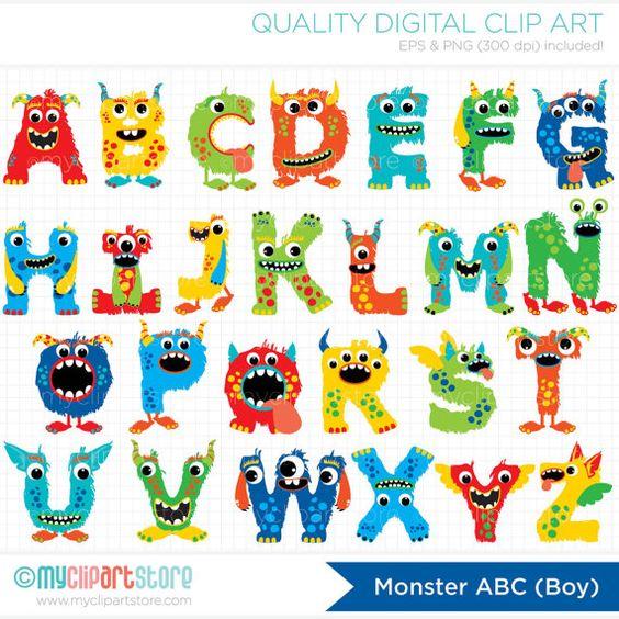 Abc clipart letters. Alpha monster boy cute