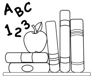 Abc clipart to color svg download book worm Coloring Pages | School Clipart Image: Coloring Page of ... svg download