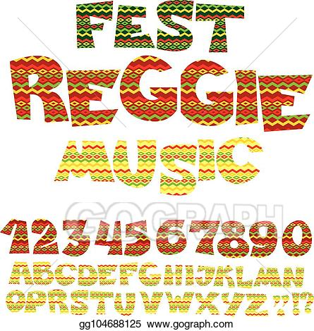 Abc clipart to color vector download Vector Art - Reggae music color font. jamaica style abc letters with ... vector download