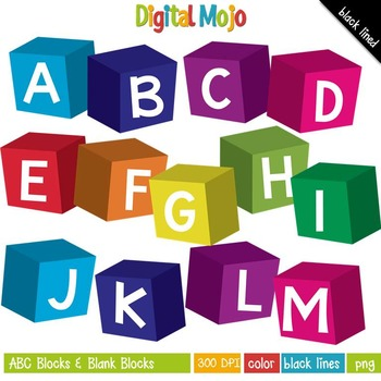 Abc clipart to color library Clipart - ABC Blocks and Blank Blocks library