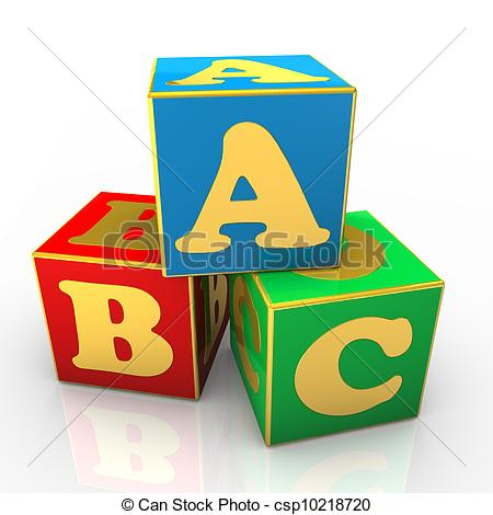Clip Art of ABC Cubes - Blue, red and green ABC cubes with golden ... clipart library