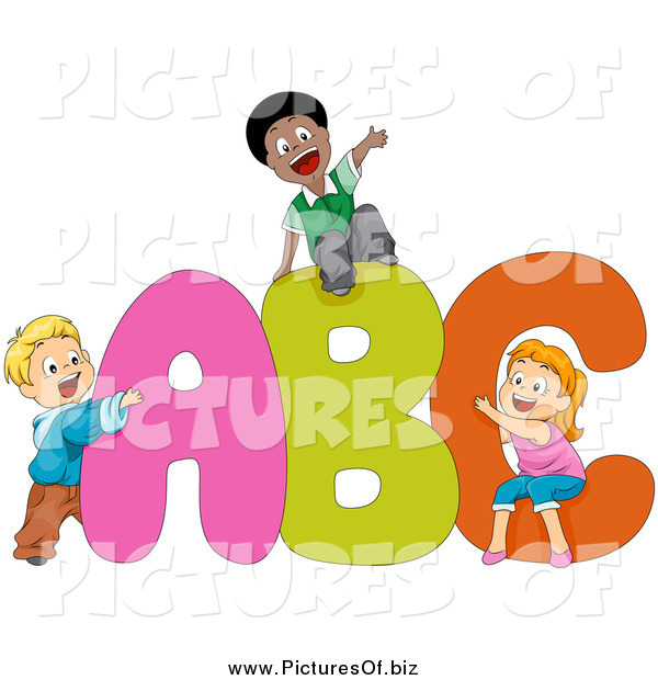 Abc kids clipart jpg black and white stock Vector Clipart of Diverse Kids Playing on ABC by BNP Design Studio ... jpg black and white stock
