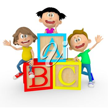 Abc kids clipart vector free stock iCLIPART - 3D Clip Art Illustration of Kids with ABC Cubes Looking ... vector free stock