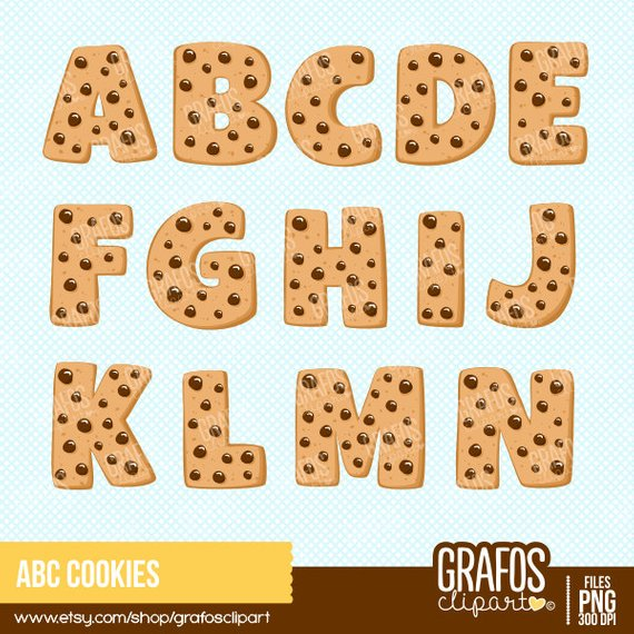 Abc smart cookie clipart clipart transparent stock ABC COOKIES - Digital Clipart Set, Cookies Clipart, Alphabet Clipart ... clipart transparent stock