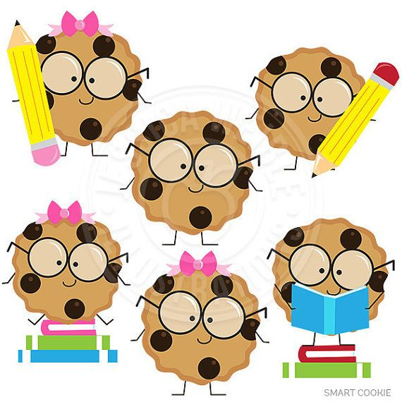 Abc smart cookie clipart picture library library Smart Cookie Cute Digital Clipart, Cookie with Glasses Clipart ... picture library library