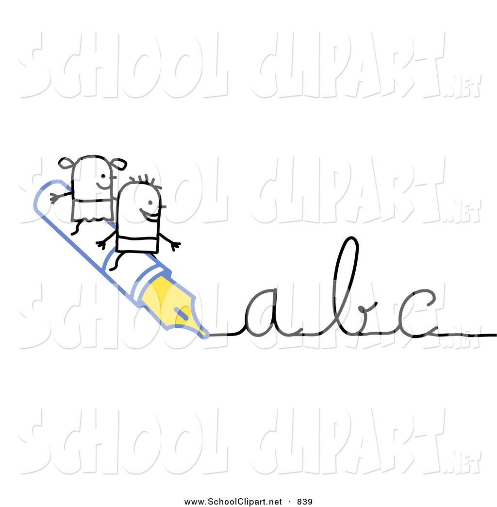 Abc writing clipart svg download Clip Art of a Stick Boy and Girl Riding on a Pen Writing Abc in ... svg download