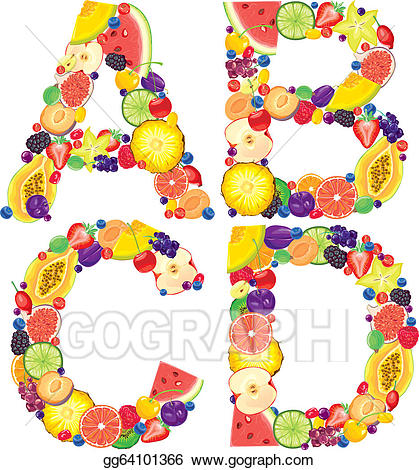 Vector Stock - Alphabet from fruit abcd. Clipart Illustration ... vector library download