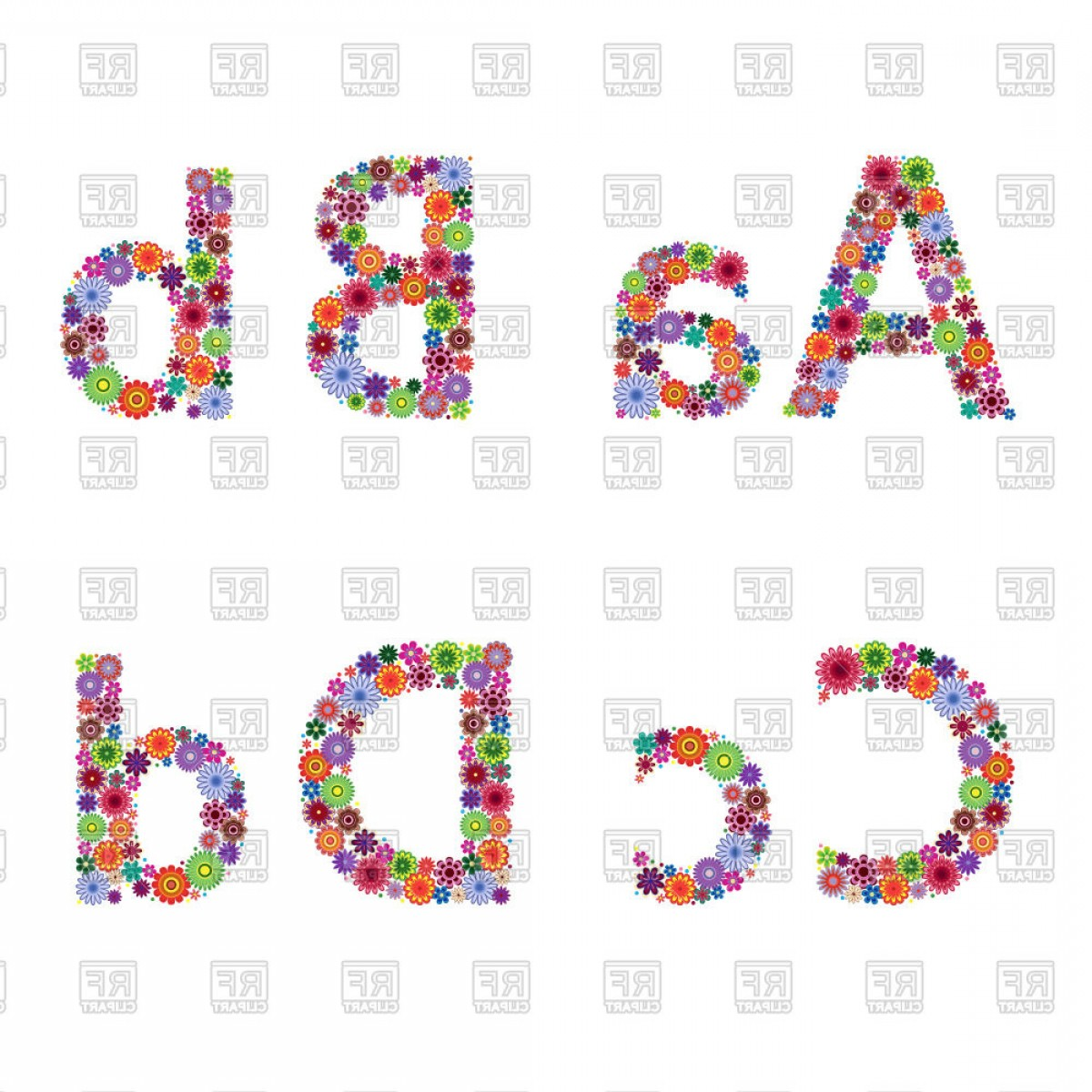 Floral Letters A B C D Vector Clipart | SOIDERGI clip art royalty free library