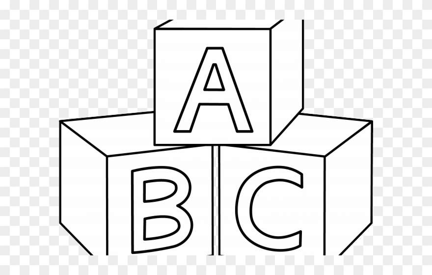Abc Blocks Clipart - Coloring Pictures Of Blocks - Png Download ... clip art black and white stock