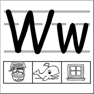 Abcteach clipart vector royalty free stock Clip Art: Alphabet Set 01: W B&W I abcteach.com | abcteach vector royalty free stock