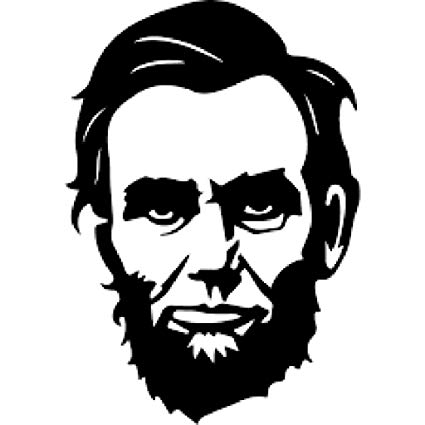 Abe lincoln clipart for kids black and white graphic download Abraham Lincoln Face Vinyl Decal Sticker | Cars Trucks Vans Walls Laptops  Cups | Black | 5.5 X 3.8 Inch | KCD1214 graphic download
