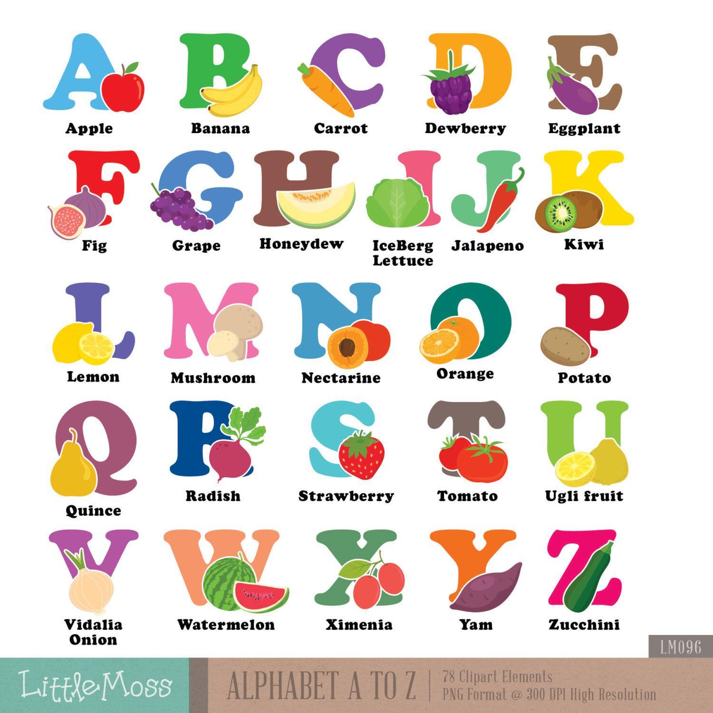 Abecedario clipart vector transparent library Alfabeto A-z Digital Clipart, hortalizas y frutas abecedario | Paper ... vector transparent library