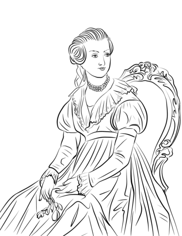 Abigail adams clipart png black and white Abigail Adams coloring page | Free Printable Coloring Pages png black and white