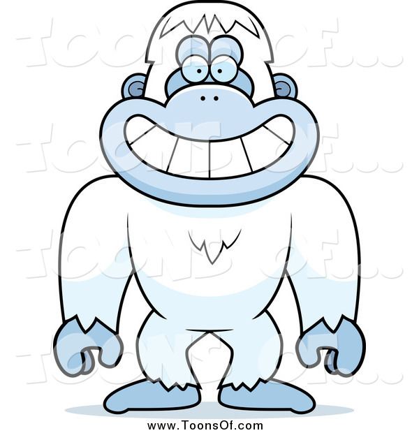 Clipart of a Smiling Yeti Abominable Snowman by Cory Thoman - #26411 graphic free stock
