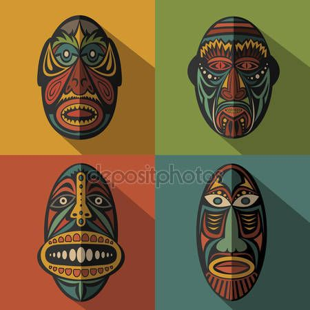 Aborginal mask art lessons clipart graphic black and white Set of African Ethnic Tribal masks on colour background — Stock ... graphic black and white