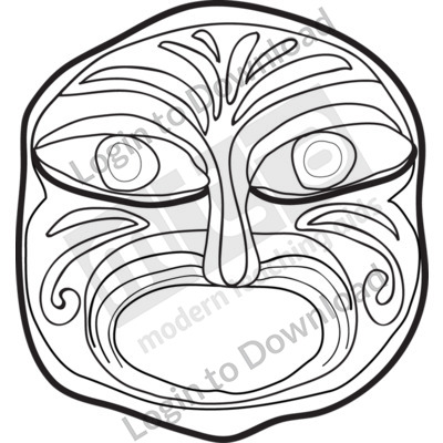 Aborginal mask art lessons clipart picture black and white download Lesson Zone - Mask 2 B&W picture black and white download