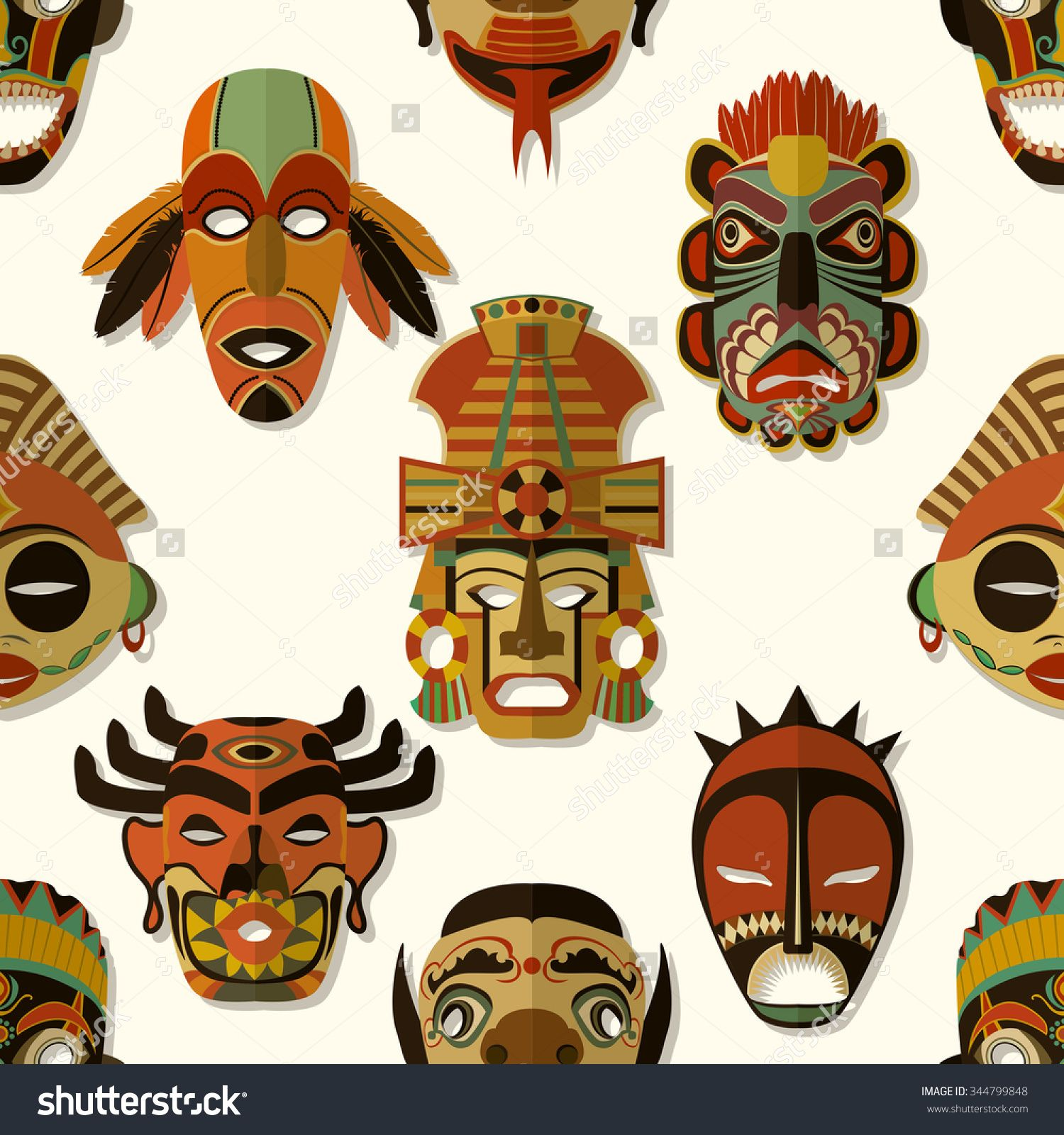 Aborginal masks clipart svg stock Tribal Mask Texture, Seamless pattern design | native american in ... svg stock