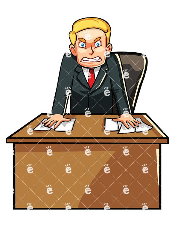 Above seated adult male clipart clip Businessman Standing Angrily Behind His Desk | art in 2019 ... clip