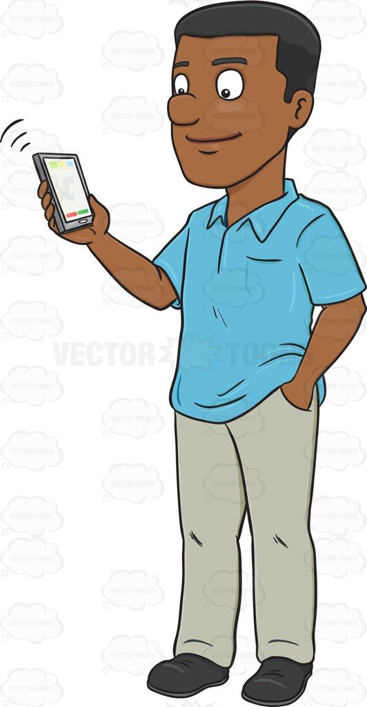 A Black Man Talking To Someone Via His Mobile Phone Cartoon Clipart ... image freeuse