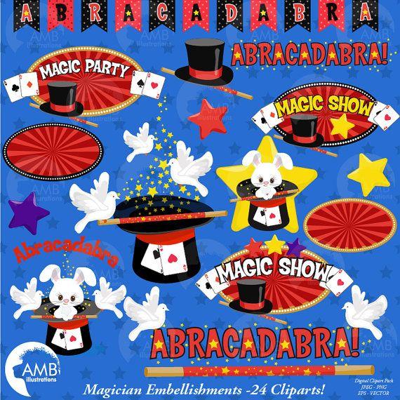 Abracadabra magic clipart vector black and white stock 80%OFF Magic clipart Magician Show clipart by AMBillustrations ... vector black and white stock