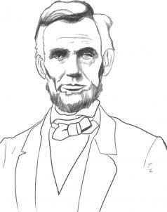 how to draw abraham lincoln president step 7   Art projects in 2019 ... clip art black and white stock