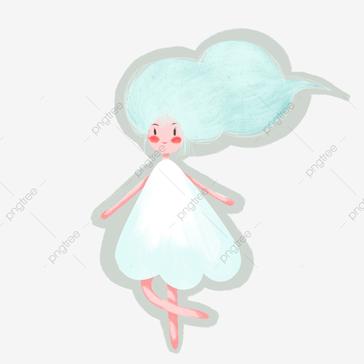 Hand Drawn Cartoon Abstract Cloud Hairstyle Flowing White Dress ... jpg transparent download