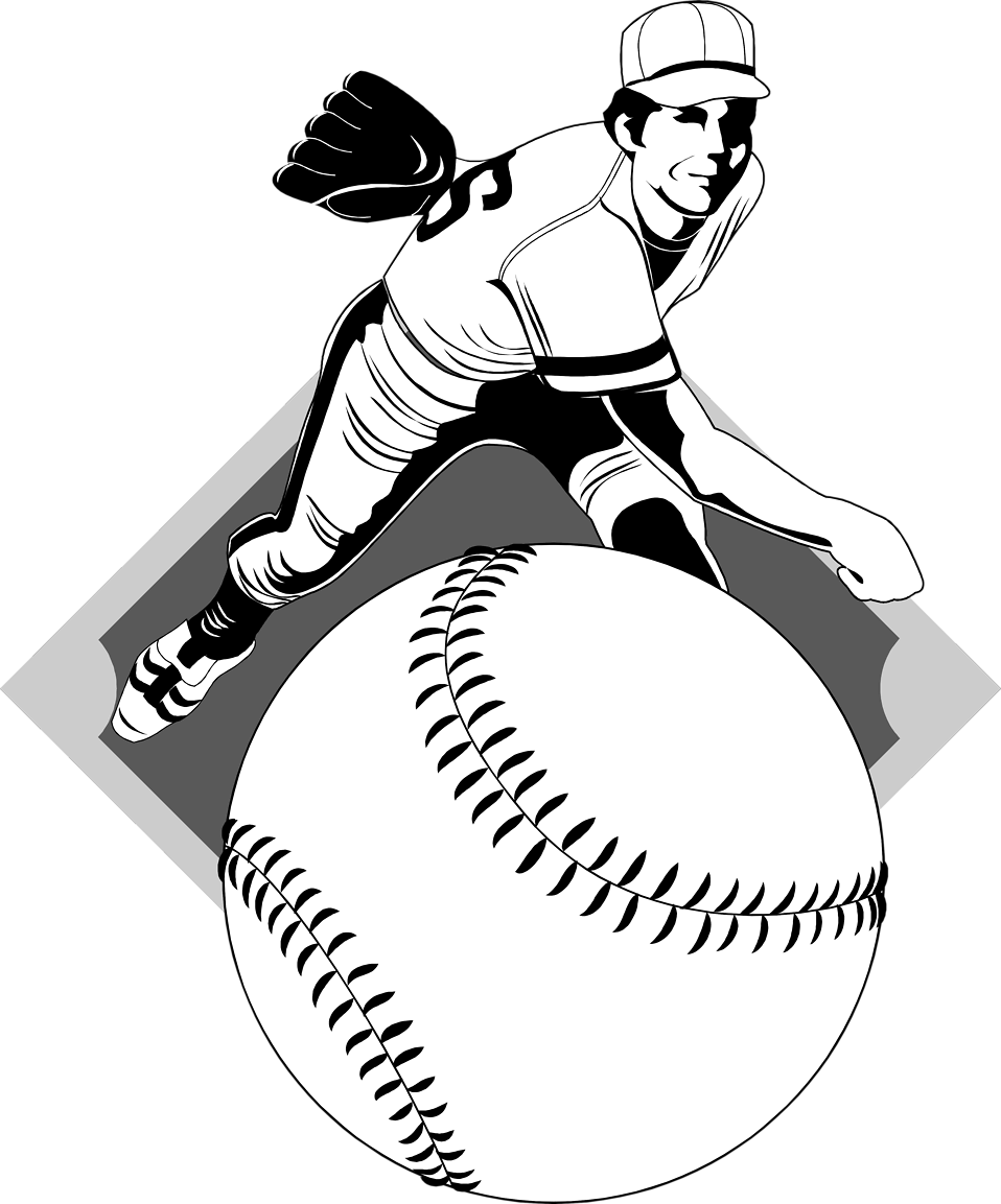Black and white baseball player clipart clip black and white download Baseball | Free Stock Photo | Illustration of a baseball pitcher ... clip black and white download