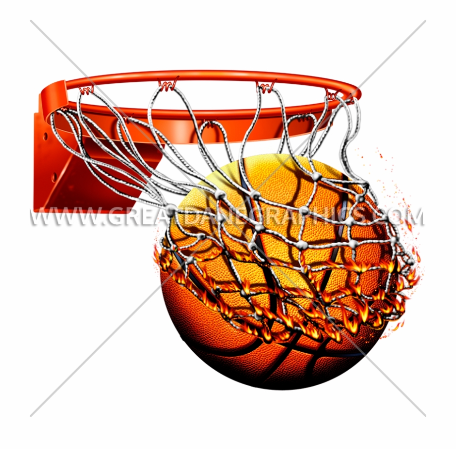 Abstract basketball hoop clipart clip art black and white download Flaming Basketball With Net Production Ready Artwork - Basketball ... clip art black and white download