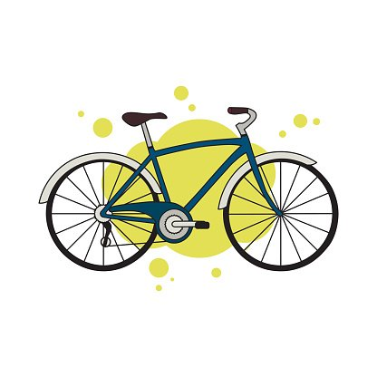 Blue Detailed City Bicycle Isolated ON Yellow Abstract Background ... vector
