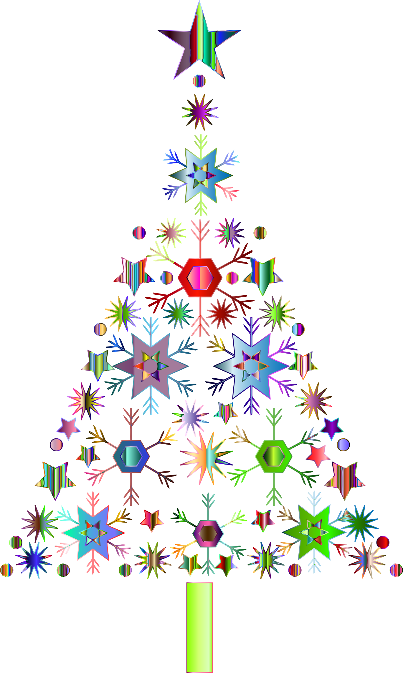 Christmas snowflake tree clipart