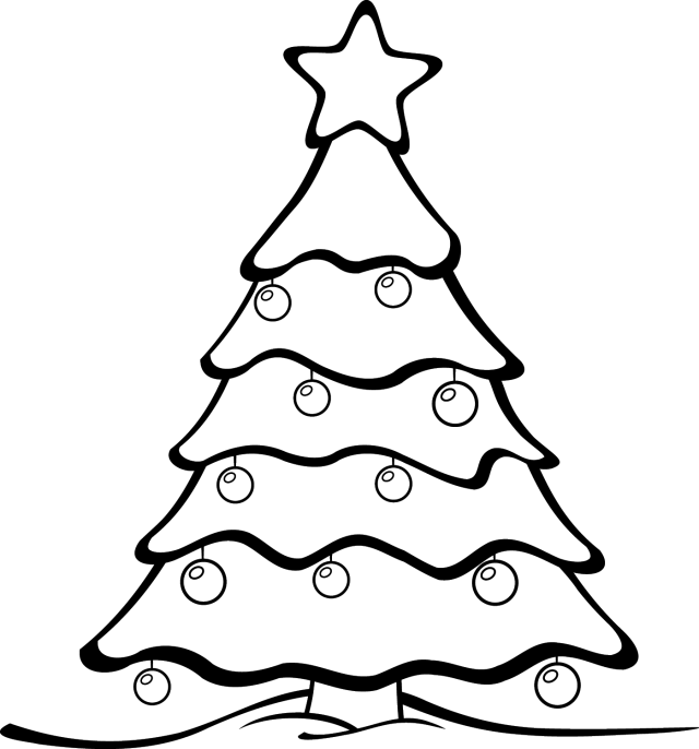 Fancy christmas tree clipart image Black And White Christmas Tree Clipart | Site about Children image