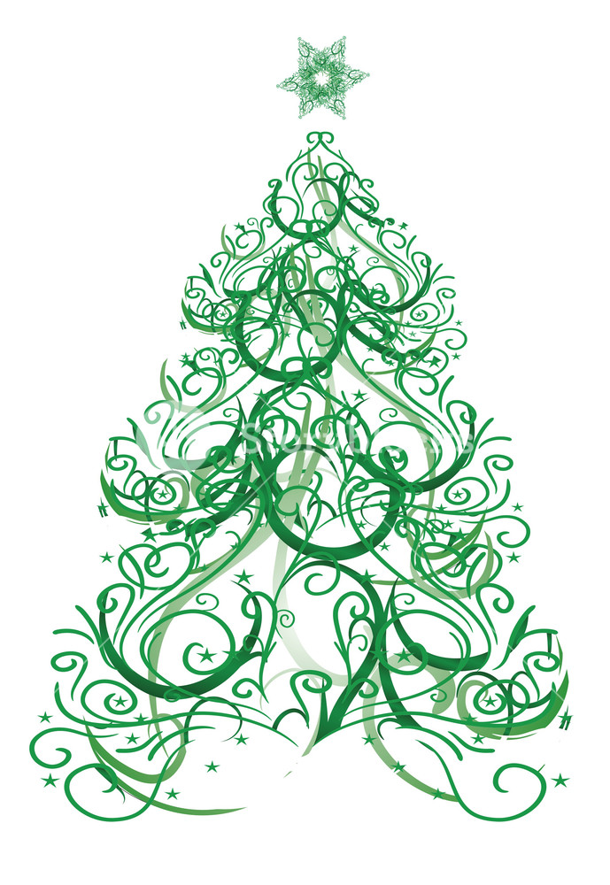 Abstract evergreen tree clipart