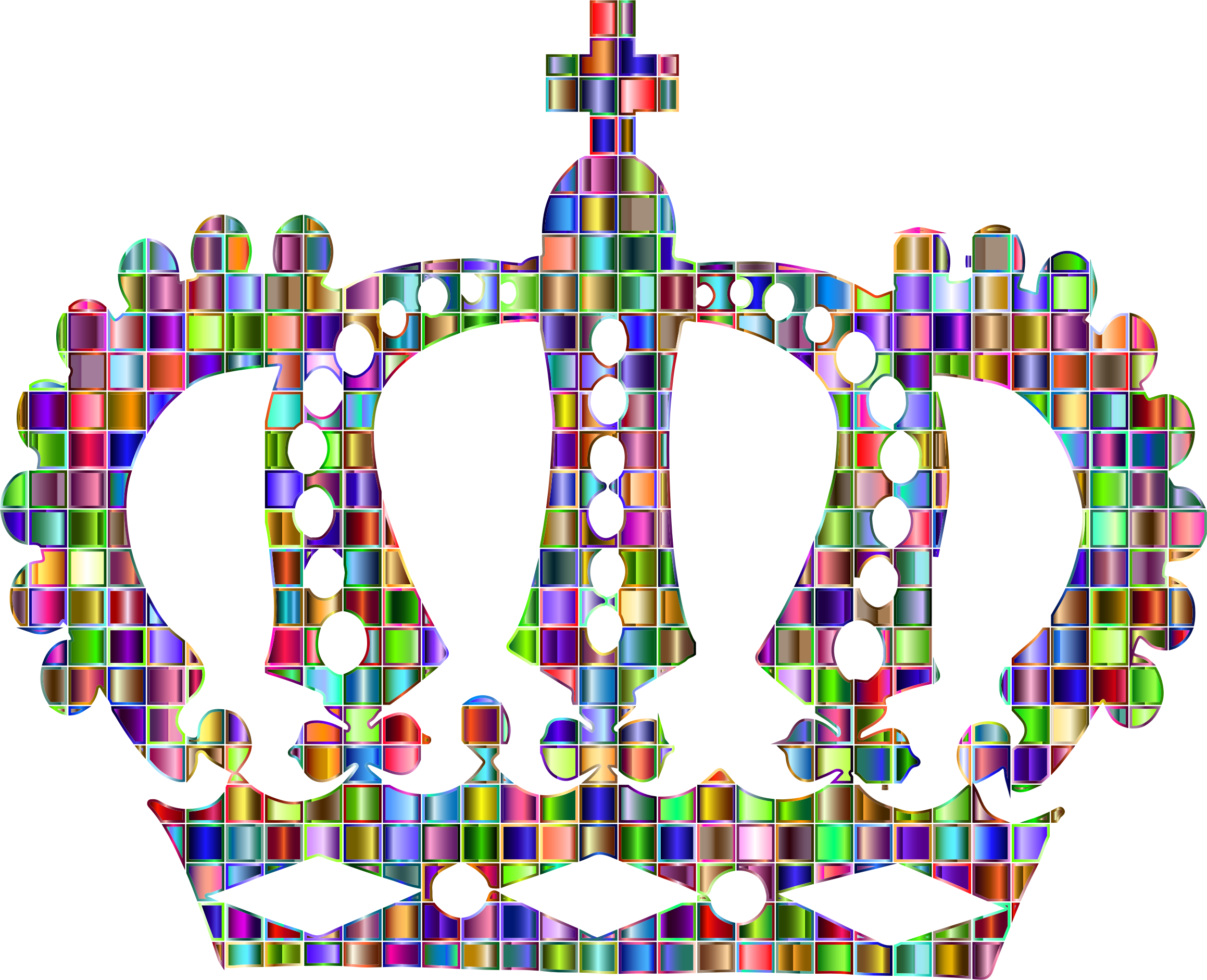 Clipart - Chromatic Mosaic Royal Crown clip art transparent library